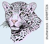 leopard face tattoo  vector...   Shutterstock .eps vector #604897226