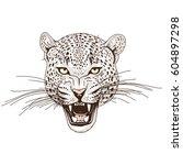 Leopard Face Tattoo  Vector...