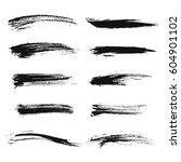 Set Of Black Paint  Ink Brush...