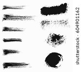 set of black paint  ink brush... | Shutterstock .eps vector #604901162