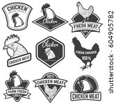 set of chicken meat labels.... | Shutterstock .eps vector #604905782