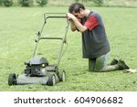 man in the garden tired after... | Shutterstock . vector #604906682
