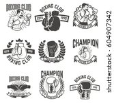 set of boxing club labels.... | Shutterstock .eps vector #604907342