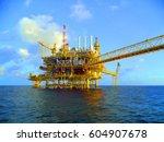 offshore construction platform...   Shutterstock . vector #604907678