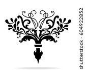 elegant hand drawn fleur de lis ... | Shutterstock .eps vector #604922852