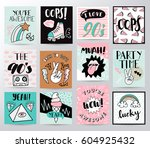 set of memphis cards for... | Shutterstock .eps vector #604925432