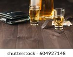 tequila shot and tequila bottle ... | Shutterstock . vector #604927148