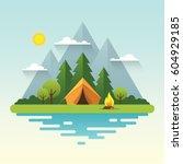 sunny day landscape... | Shutterstock .eps vector #604929185