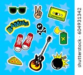 fashion patch badges with... | Shutterstock .eps vector #604931342