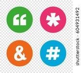 quote  asterisk footnote icons. ... | Shutterstock .eps vector #604931492