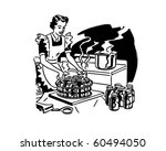 housewife canning fruit   retro ... | Shutterstock .eps vector #60494050