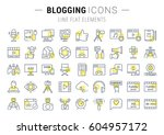 set vector simple line icons ... | Shutterstock .eps vector #604957172
