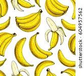 banana vector seamless pattern. ... | Shutterstock .eps vector #604957562
