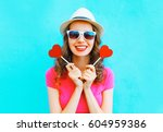 fashion happy smiling woman... | Shutterstock . vector #604959386