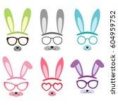 set of cartoon vector bunny and ... | Shutterstock .eps vector #604959752