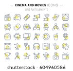 set vector line icons  sign and ... | Shutterstock .eps vector #604960586