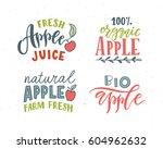hand sketched apple lettering... | Shutterstock .eps vector #604962632