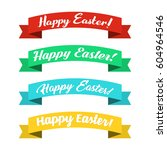 set of ribbons with happy... | Shutterstock .eps vector #604964546