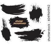 set of black paint  ink brush...   Shutterstock .eps vector #604964942