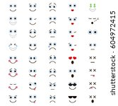 set of emoticons in trendy flat ... | Shutterstock .eps vector #604972415