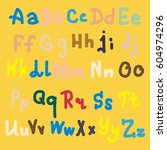 hand drawn alphabet. brush... | Shutterstock . vector #604974296