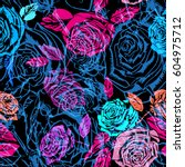 Vector Roses Neon Magenta...