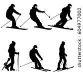 set mountain skier speeding... | Shutterstock . vector #604977002