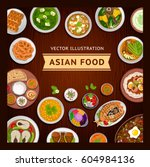 asian food on a wooden table.... | Shutterstock .eps vector #604984136