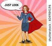 pop art smiling super business... | Shutterstock .eps vector #604984196