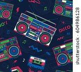 retro pop eighties boombox... | Shutterstock .eps vector #604986128