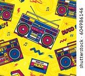 retro pop eighties boombox... | Shutterstock .eps vector #604986146