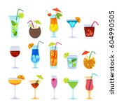 tropical cocktails  juice  wine ... | Shutterstock .eps vector #604990505
