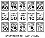 United States Speed Signs Set.