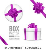 white round gift box with shiny ... | Shutterstock .eps vector #605000672