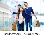 joyful girl and her parents... | Shutterstock . vector #605003258