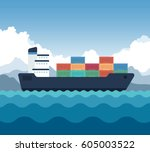 cargo shipping with containers... | Shutterstock .eps vector #605003522