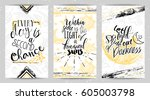 cards with funky elements and...   Shutterstock .eps vector #605003798