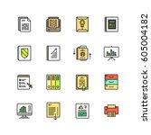 business documents finance... | Shutterstock .eps vector #605004182