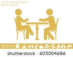 people at the table  interior... | Shutterstock .eps vector #605004686