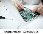 closeup shot of male hands... | Shutterstock . vector #605009915
