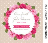 wedding invitation card  save... | Shutterstock .eps vector #605014442