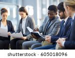 multi ethnic group of  business ... | Shutterstock . vector #605018096
