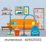 cleaning in room with vacuum... | Shutterstock .eps vector #605025332