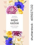 wedding invitation with flowers   Shutterstock .eps vector #605027132