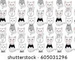 vector funny cat seamless...   Shutterstock .eps vector #605031296