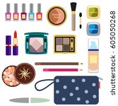 female cosmetics large set in a ... | Shutterstock .eps vector #605050268