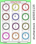 what time is it  what is the... | Shutterstock .eps vector #605051135