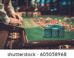 gambling table in luxury casino. | Shutterstock . vector #605058968