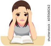cute stressed teenage girl... | Shutterstock .eps vector #605068262