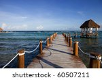 Wooden Dock At The Caribbean...